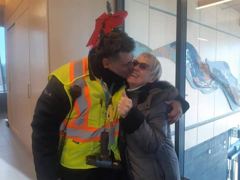 Martin Légaré a pu revoir Lauraine Desrosiers quelques jours après lui avoir sauvé la vie. Photo gracieuseté