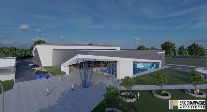 Voici le concept du bâtiment proposé par l'architecte au dossier, Éric Champagne. Ce concept pourra évoluer lors de l'appel d'offres pour les plans et devis, une fois la subvention confirmée. Photo gracieuseté