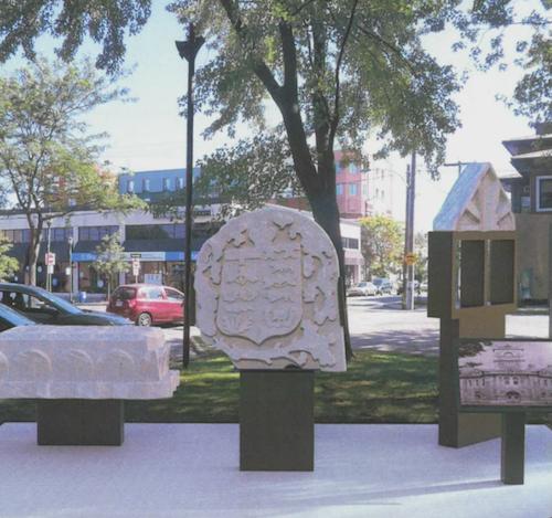 Une maquette du projet de monument qui sera installé au coin des rues George et du Prince au carré Royal a été présentée lors du dernier conseil municipal.  Photo capture d'écran
