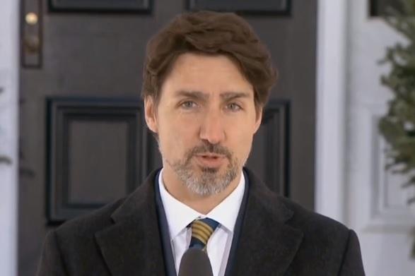 Le premier ministre Justin Trudeau, lors d'un point de presse quotidien. Photo capture d'écran
