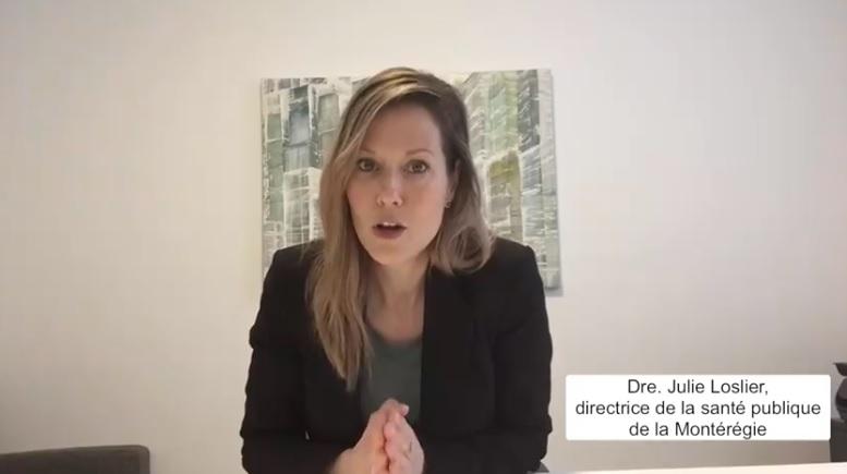 Dre Julie Loslier lors d'un point d'information. Photo capture d'écran
