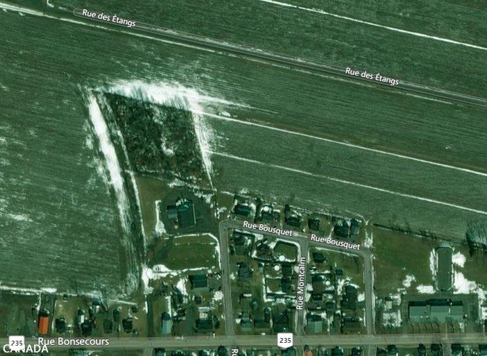 Le boisé est situé dans un champ à l'arrière de la Coopérative Covilac. Photo Google Earth