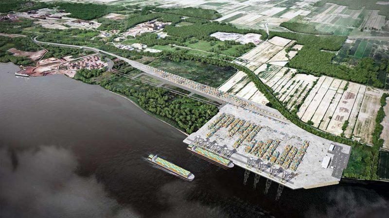 Le terminal à conteneurs sera aménagé à la limite de Verchères à un kilomètre en amont du terminal de vrac solide en place depuis les années 1950. Photo gracieuseté