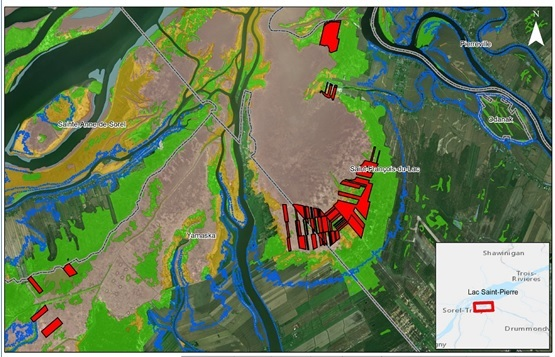 En rouge (sur la carte), les superficies visées à Saint-François-du-Lac et Yamaska. Photo tirée du jugement