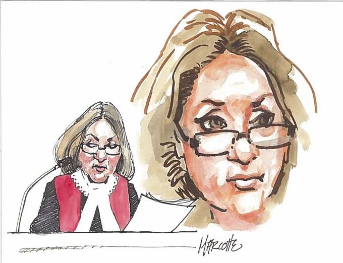 La juge France Charbonneau a souhaité bonne chance à l'accusé avant de quitter son estrade. Illustration Gilles Marcotte