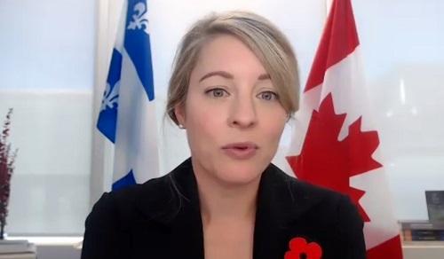 La ministre Mélanie Joly a fait l'annonce dans le cadre d'une rencontre virtuelle éclair à laquelle onta participé plusieurs dizaines d'intervenants économiques de la région. Photo capture d'écran