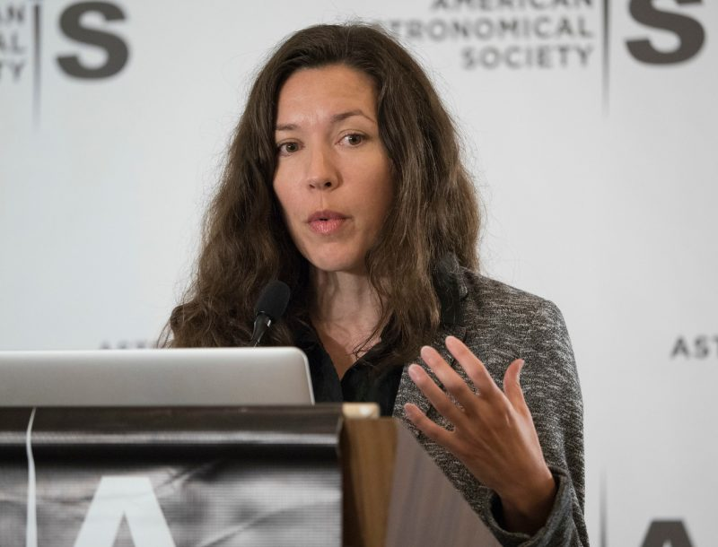Austin, TX - AAS 2017 - Stephanie Juneau during the Monday AM Press Conference at the American Astronomical Society's 230th meeting at the JW Marriott hotel in Austin, Texas, Monday June 5, 2017. The AAS, established in 1899 and based in Washington, DC, is the major organization of professional astronomers in North America. More than 500 astronomers, educators, industry representatives, and journalists are spending the week in Austin to discuss the latest findings from across the universe. Photo by Phil McCarten, © 2017 American Astronomical Society.