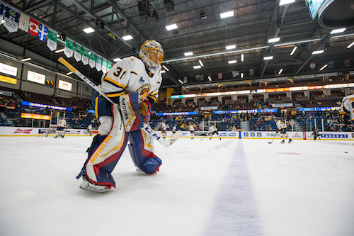 Photo: Olivier Croteau 2020/01/03 Shawinigan Quebec Canada. Hockey LHJMQ. Les Cataractes de Shaiwnigan recoivent les Olympiques de Gatineau au Centre Gervais Auto. Charles-Antoine Lavalee no31.